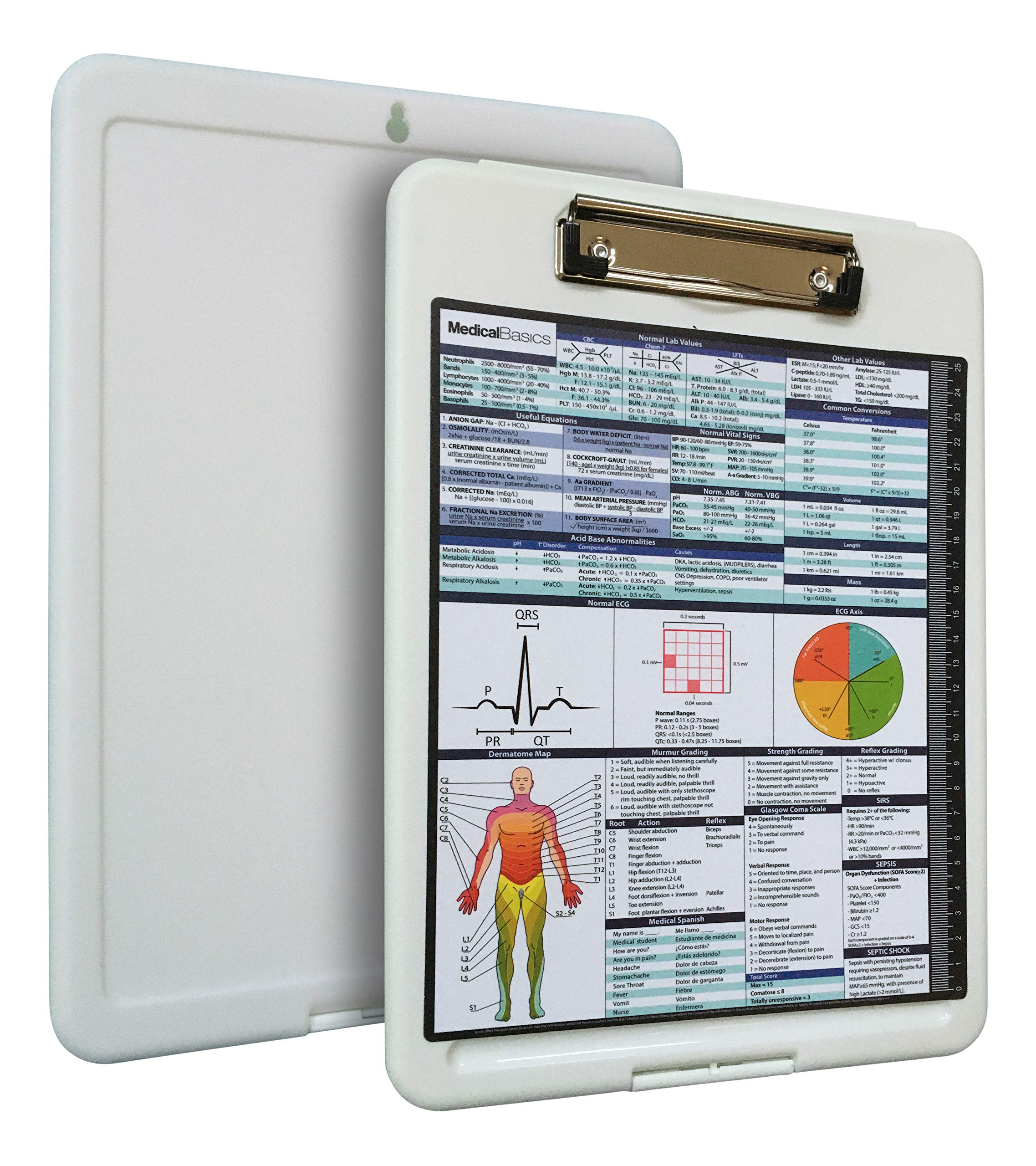 Premium Medical Storage Clipboard with Quick Medical Reference Sheet – Clipboard for Doctors, Medical Students…