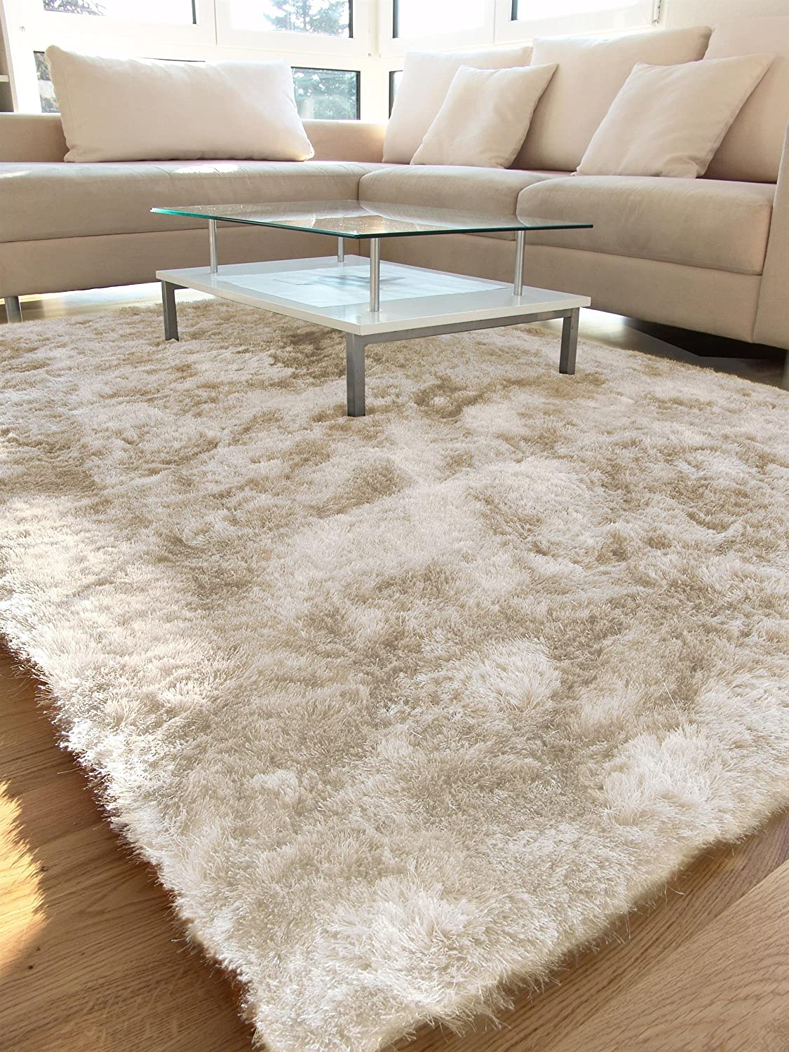 Kuscheliger teppich  benuta Shaggy Hochflor Teppich Whisper Beige 160x230 cm | Langflor ...