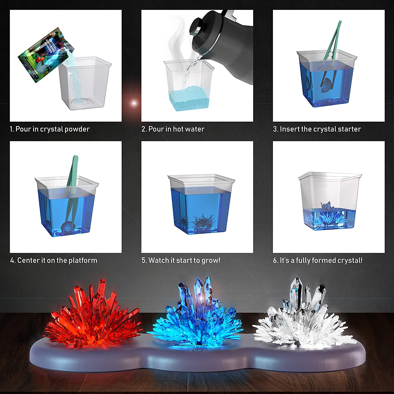 Light-up Crystal Growing Kit for Kids - Grow Your Own Crystals and Make  Them Glow : Great Science Experiments Gifts for Kids, Boys & Girls - STEM  Toys