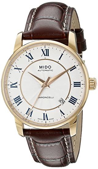 Amazon.com: Mido Mens MIDO-M86002218 Baroncelli Analog Display Swiss Automatic Brown Watch: Mido: Watches