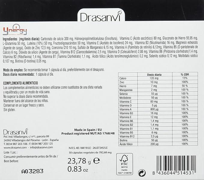 Ynergy Senior +50 36 cápsulas con Vitaminas, Minerales Drasanvi: Amazon.es: Salud y cuidado personal