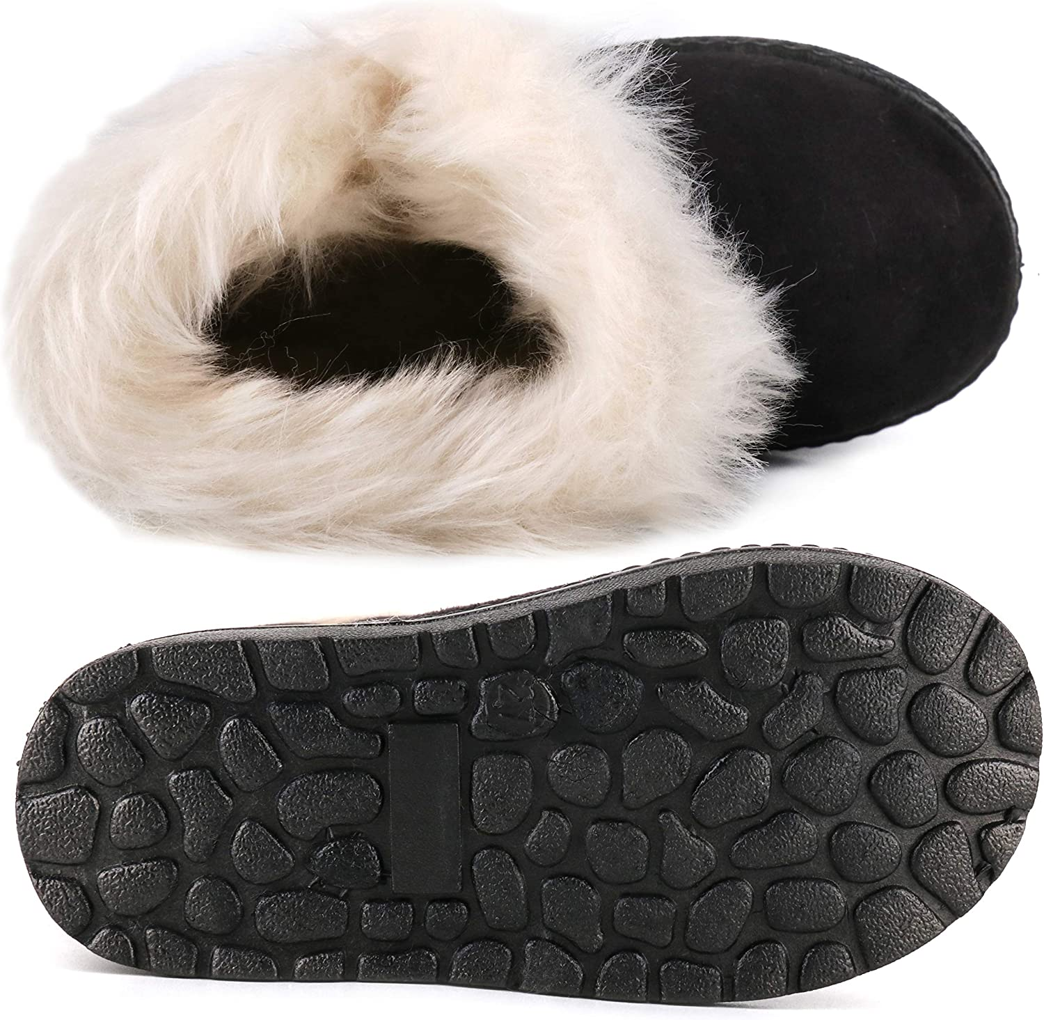 Femizee Girls Boys Warm Winter Flat Shoes Bailey Button Snow Boots(Toddler/Little Kid): Shoes