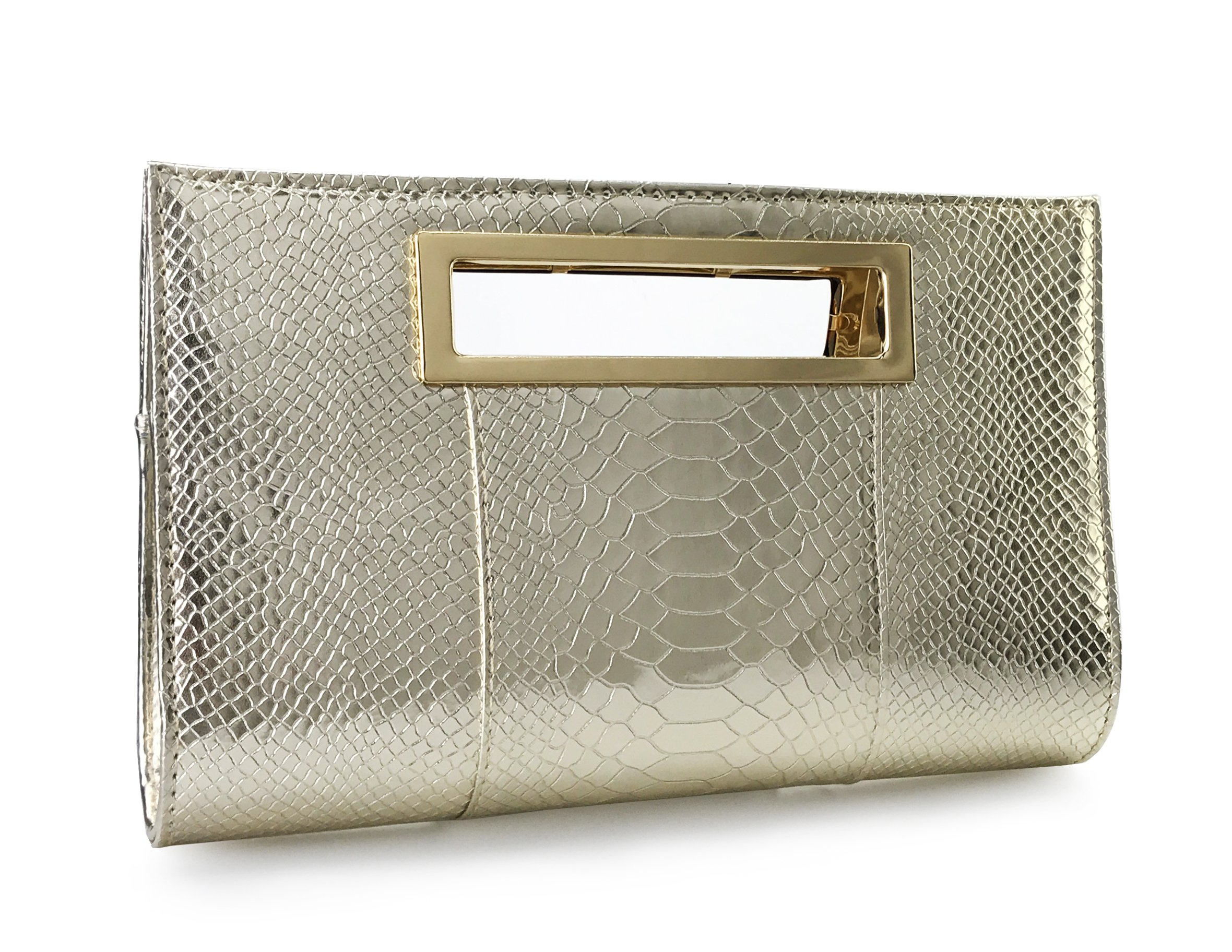 Hoxis New Color Crocodile Pattern Faux Patent Leather Cut it out Clutch with Shoulder Strap Womens Handbag(Metallic)