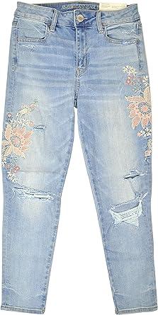 Amazon Com American Eagle 24331333 Pantalones Vaqueros Para Mujer Muy Elasticos Bordados Color Azul Claro Clothing
