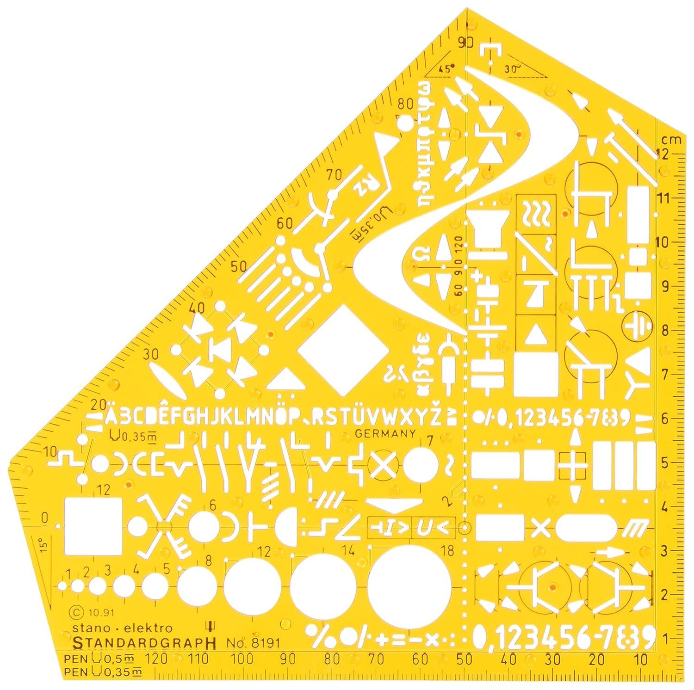 Standardgraph Elektro/8191 - Squadra sagomata con stencil professionale, 155 x 155 x 1, 3 mm