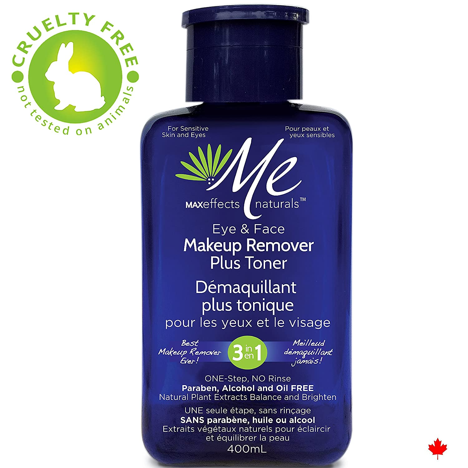 Me MAXeffects naturals 3in1 Eye and Face Makeup Remover Plus Toner, (Vanity, 400 ml Blue Bottle) with Special Pump Technology, Deep Clean Oil and Alcohol free MaxBioChem Inc.