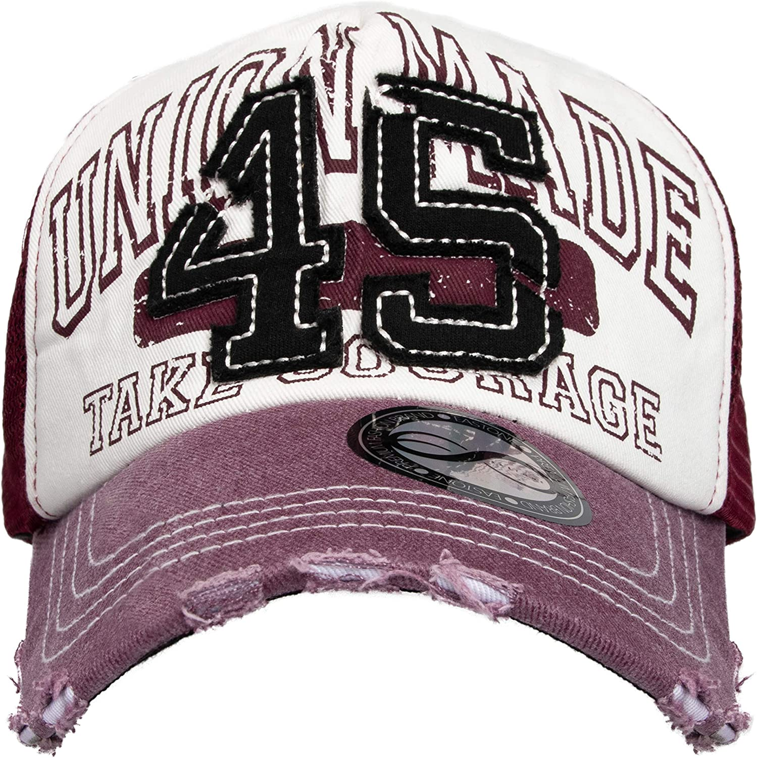 EASTONE Stitched 45 Baseball Cap Printed Union Made TAKE Courage Distressed Mesh Adjustable Cotton Trucker Hat