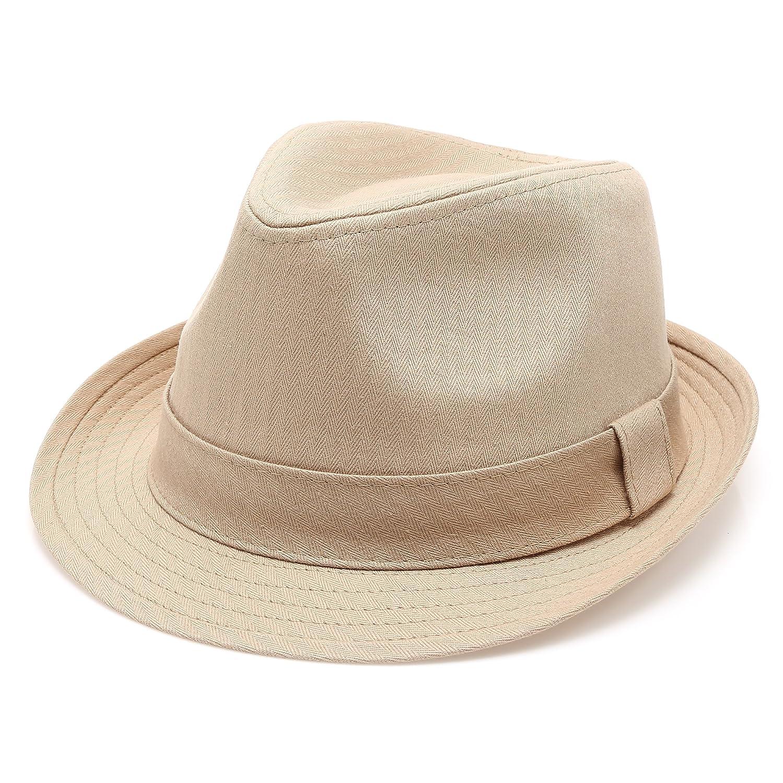 MIRMARU Classic Trilby Short Brim 100/% Cotton Twill Fedora Hat with Band