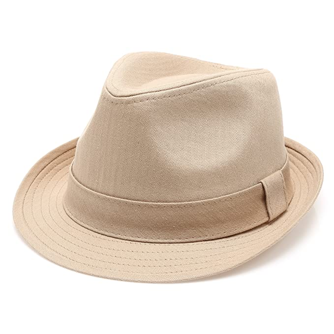 MIRMARU Classic Trilby Short Brim 100% Cotton Twill Fedora Hat with  Band(Khaki 485284229135