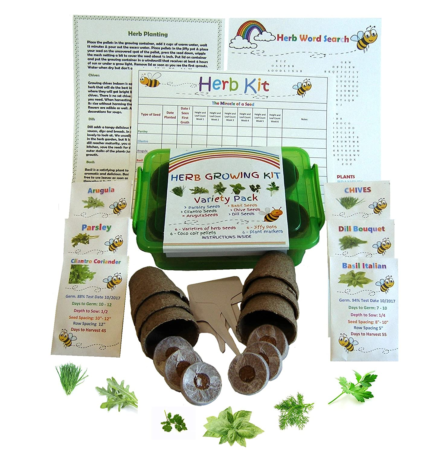Kids Garden Herb Kit-Grow 6 Herbs Set Contains Everything you Need- 6 Differant Seeds, Pellets, Jiffy Pots, Plant Markers, Grow Container, Grow Chart and Instructions