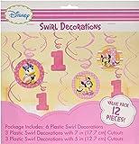 12-Piece Minnie's 1st Birthday Hanging Swirl Decoration, Pink