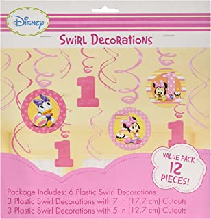 12 Piece Minnies 1st Birthday Hanging Swirl Decoration