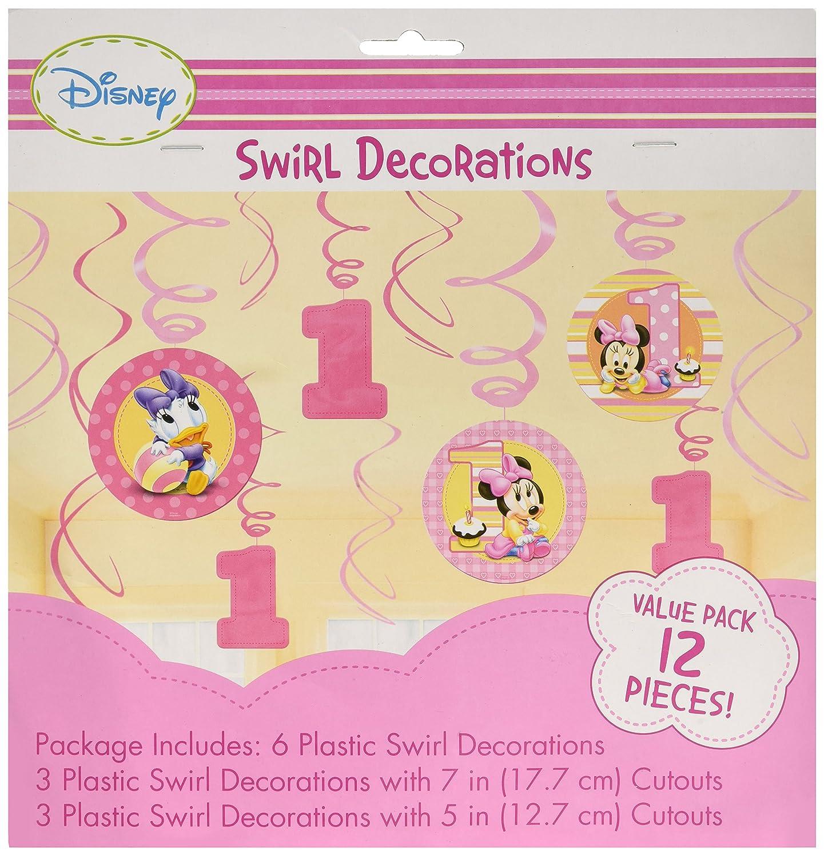 Amazon.com: 12-Piece Minnie\'s 1st Birthday Hanging Swirl Decoration ...