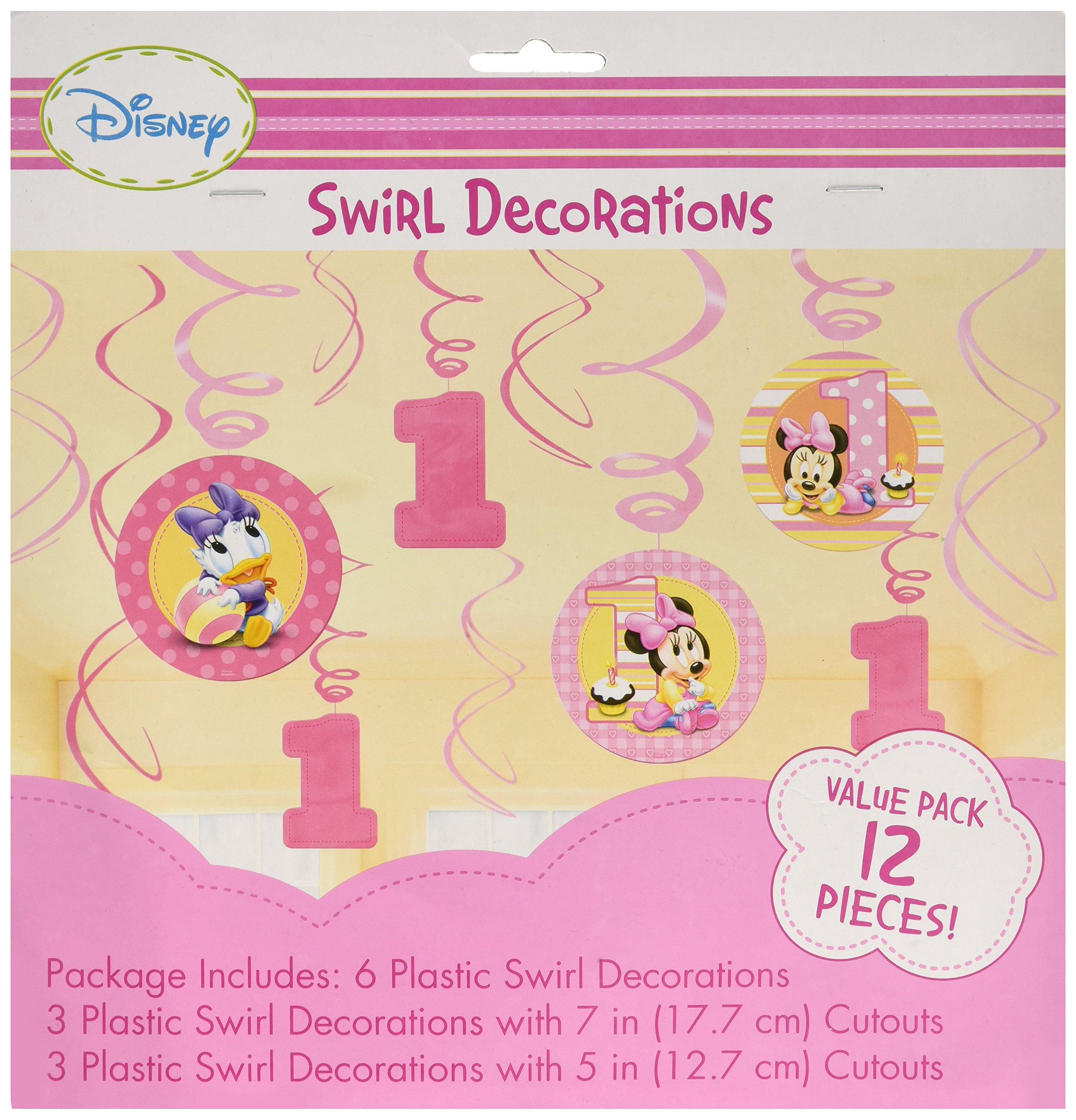 Amazon.com: 12-Piece Minnie\'s 1st Birthday Hanging Swirl Decoration ...