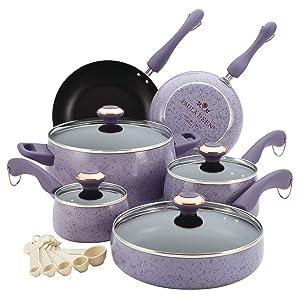 Paula Deen Signature Collection Porcelain Nonstick 15-Piece Cookware Set, Lavender Speckle