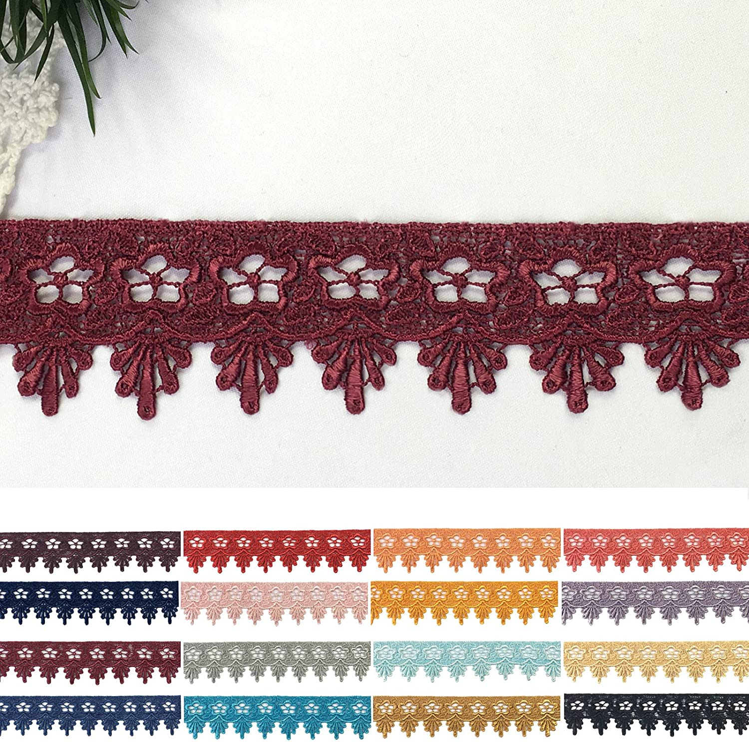 Altotux 1.75 16 colors Rayon Floral Venice Red Lilac Blue Pink Lace Trim By Yard Burgundy