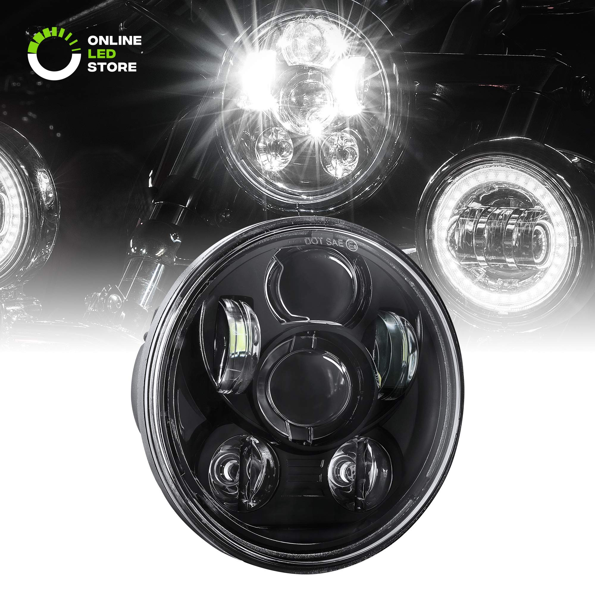 5.75'' Round LED Headlight [Black Housing] [Projector] [3450 Lumens] for Harley Davidson Motorcycle by ONLINE LED STORE