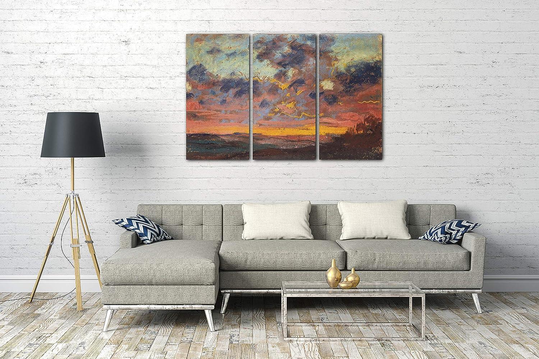 Printed Paintings Leinwand 3-teilig(120x80cm)  Claude Claude Claude Monet - Sonnenuntergang 11fc99