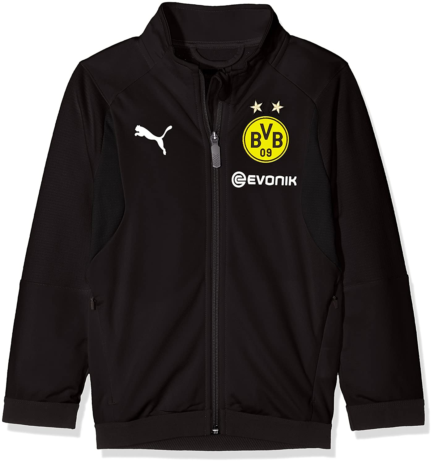 Puma Kinder BVB Poly Jacket Jr Sponsor Logo with 2 Side Pockets Wit Jacke
