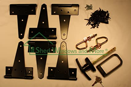 Shed Door Hardware Kit, T Hinges 8u0026quot;, T Handle, Barrel Bolts