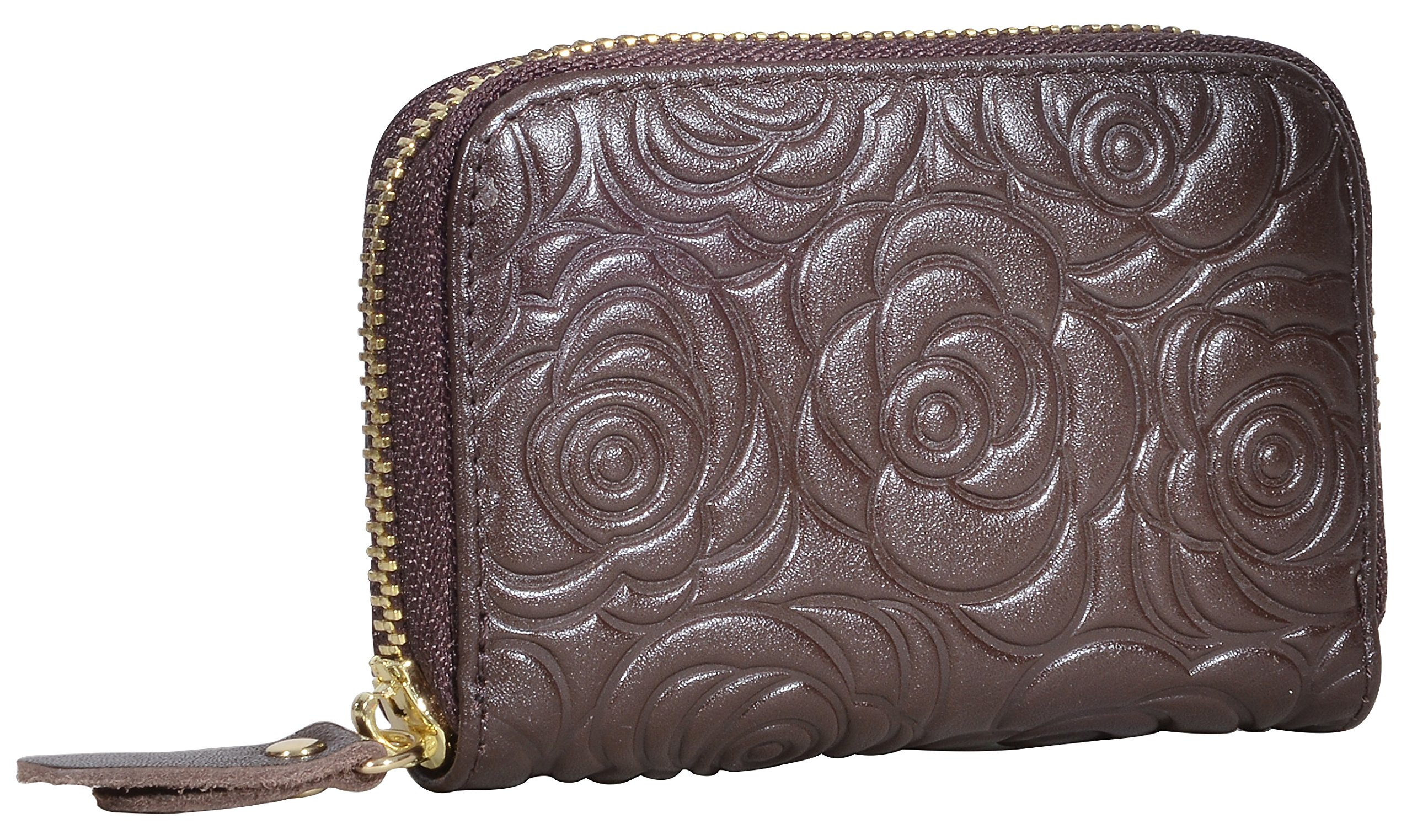 Beurlike Women's Floral Leather Credit Card Holder RFID Security Small Wallet (Coffee) by Beurlike (Image #2)