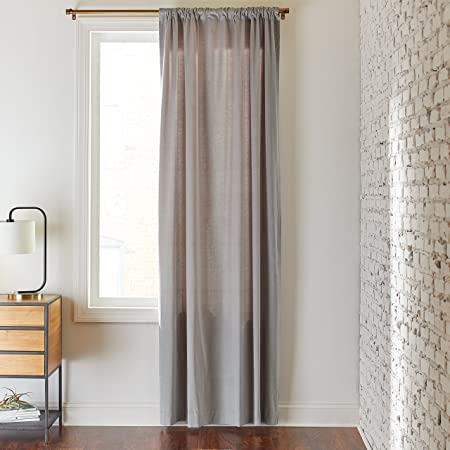 Rivet Modern Light Velvet Curtain Panel with Rod Pocket – 52 x 84 Inch, Ash Grey