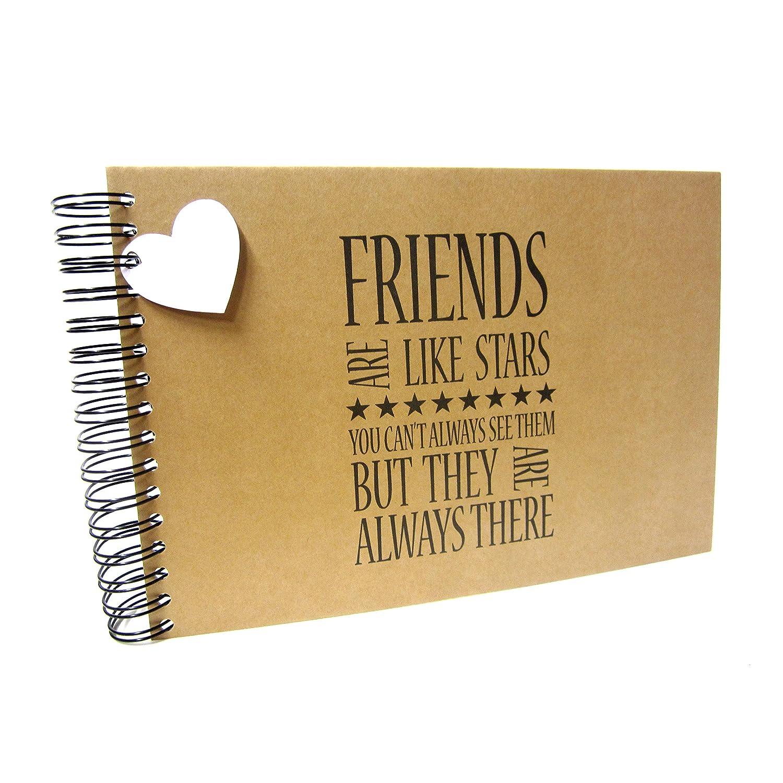 A5 A4 Friends are like Stars, Scrapbook, Card Pages, Photo Album, Keepsake, Kraft (A4 (Black Card)) Scrapbook Wonderland