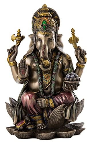 Top Collection Ganesh Statue Sitting on Lotus Pedestal – Lord of Success Sculpture in Premium Cold Cast Bronze with Colored Accents – 7.25-Inch Collectible Hindu God Ganesha Figurine