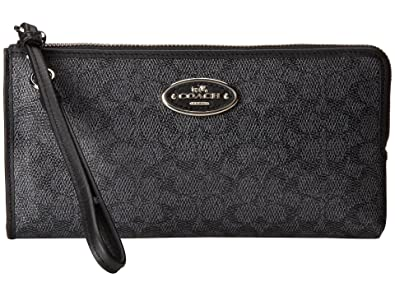 a01c9e3895 Coach 52462B L- Zip Wallet in Signature Coated Canvas in Denim Black ...