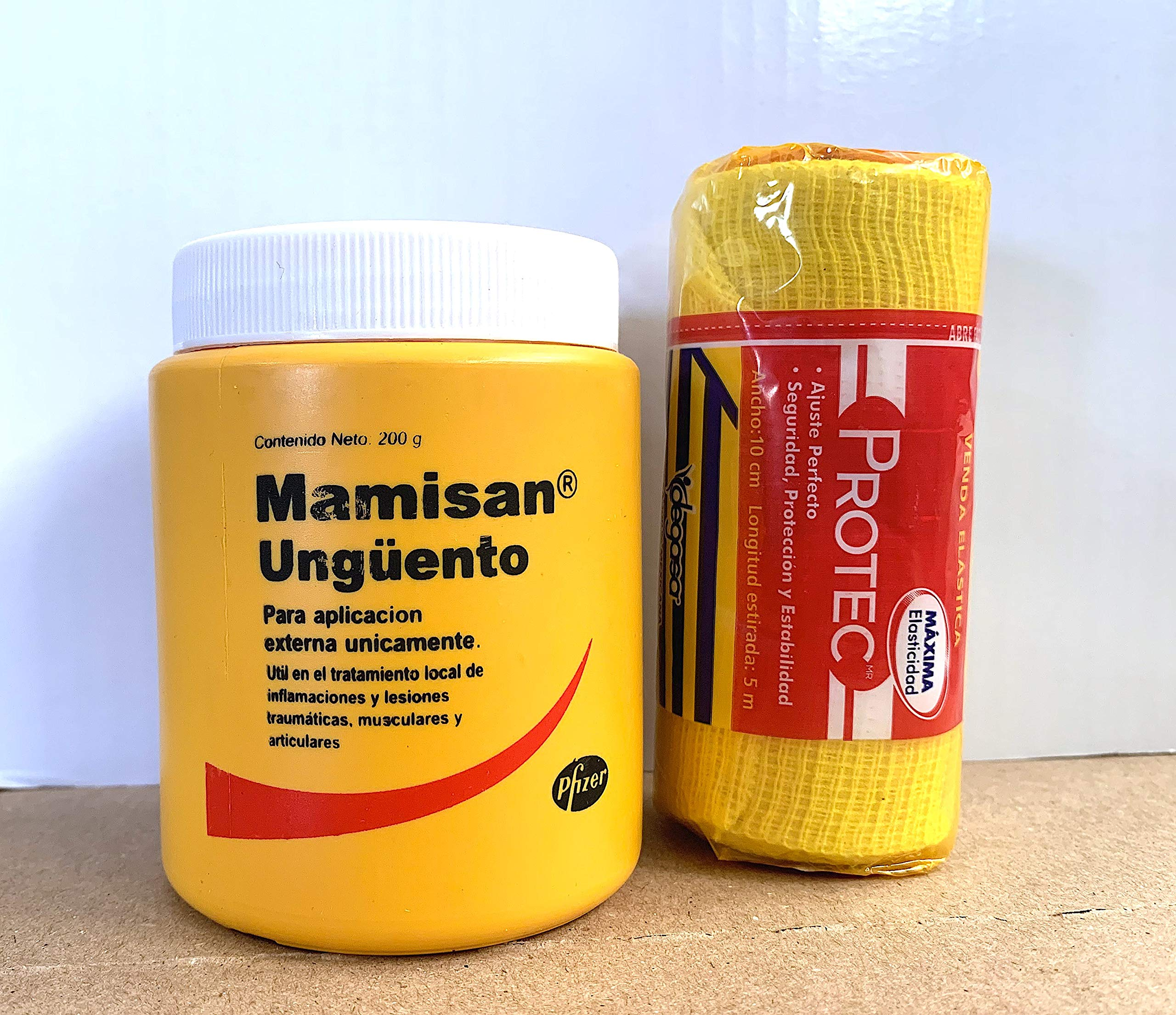 Mamisan Ungüento (200g/7.05oz) Each Orginal by Pfizer : Hits, Wounds, inflamation, Arthritis, Includes Gift: Elastic Bandage protec