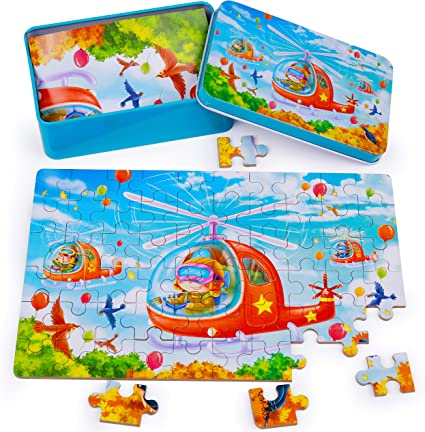 Animals Colorful Wooden Puzzles for Toddler Children Learning Educational Puzzles Toys with Metal Puzzle Box Rolimate Wooden Jigsaw Puzzles for Kids 60 Piece Best Gift 3 4 5 Year Old Boys and Girls