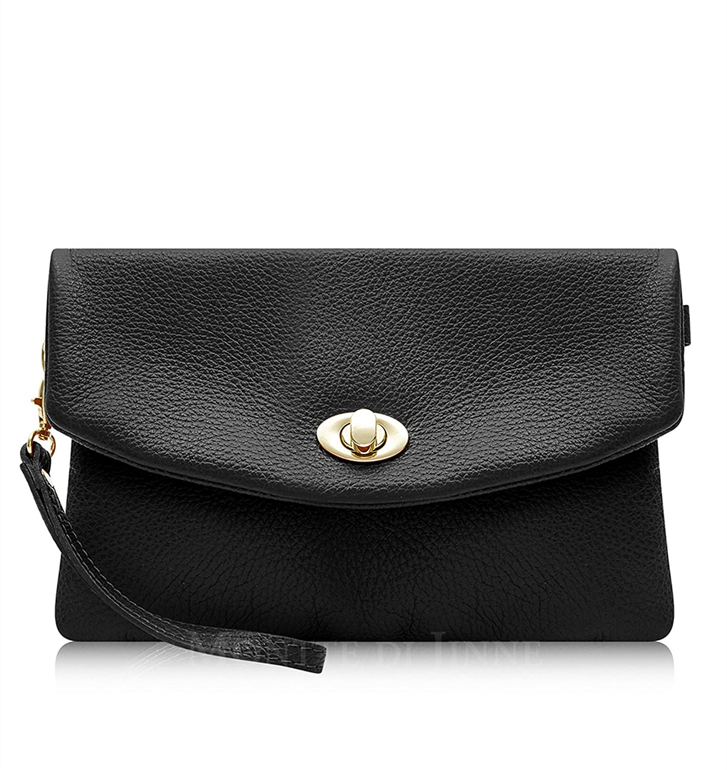 d2e0a0f5733d Italian Leather Soft Leather Clutch Bag - 100% Genuine Italian Leather  (Black)  Amazon.co.uk  Shoes   Bags