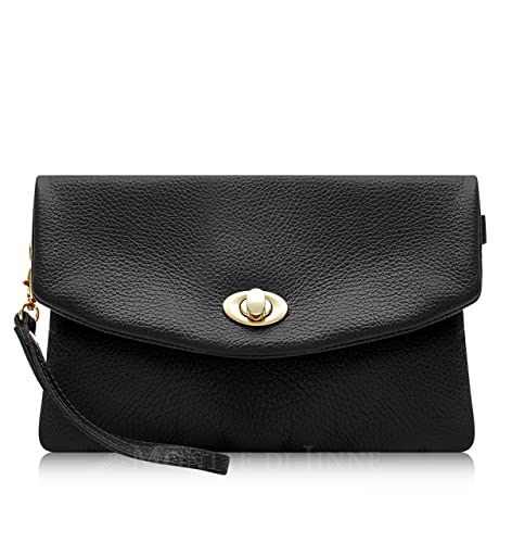 b97344302c4d Italian Leather Soft Leather Clutch Bag - 100% Genuine Italian Leather ( Black)