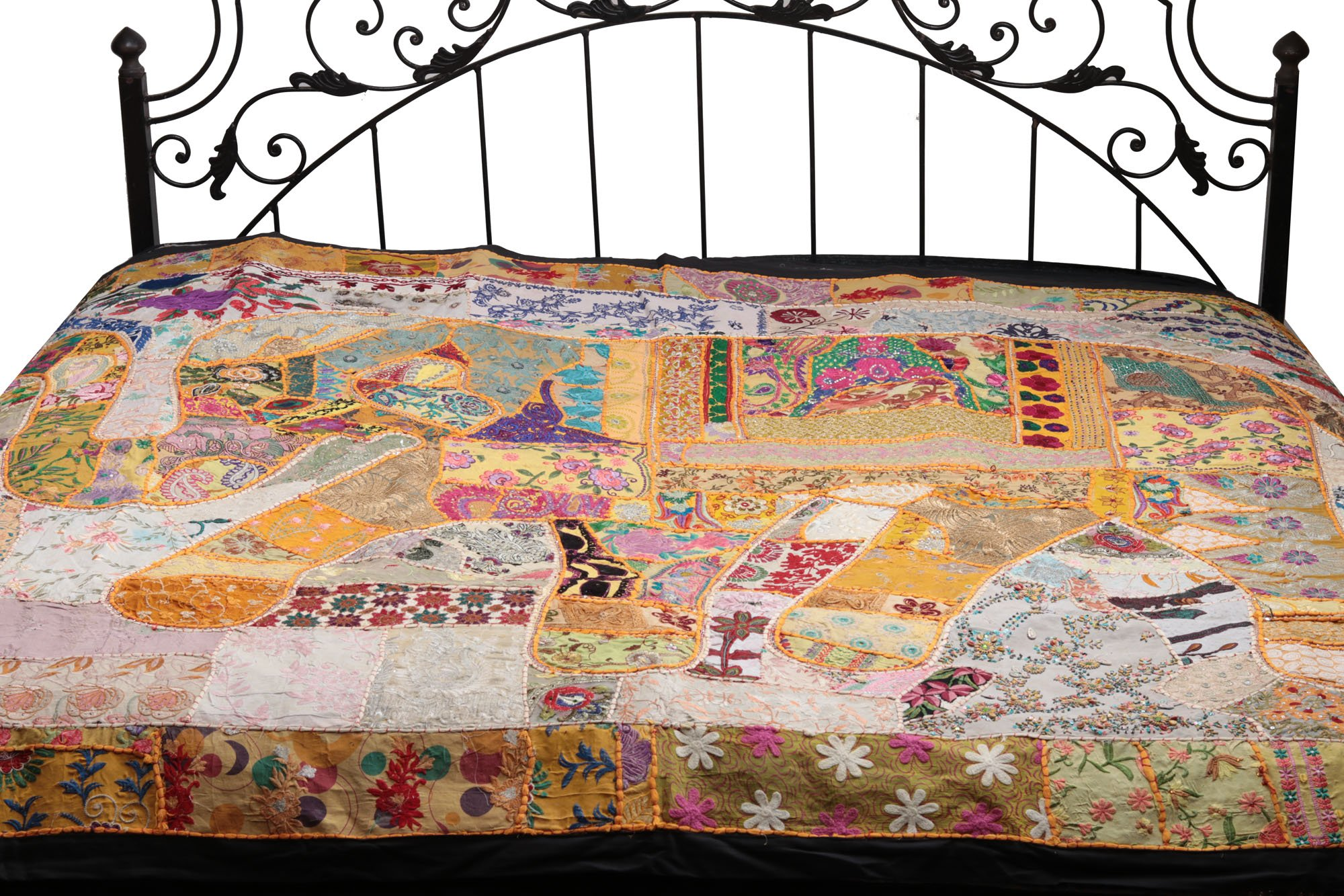 Gujarati Bedcover with Applique Elephant and All-Over Embroidery with Sequins Work - Pure Cotton - Color Amber And Dew Color