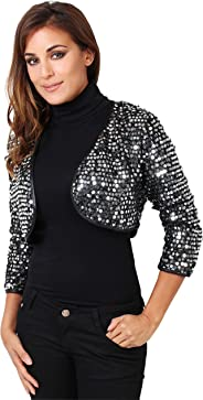 KRISP Womens Elegant Sequin Shrug Bolero Cropped Top Open Cardigan Party Jacket