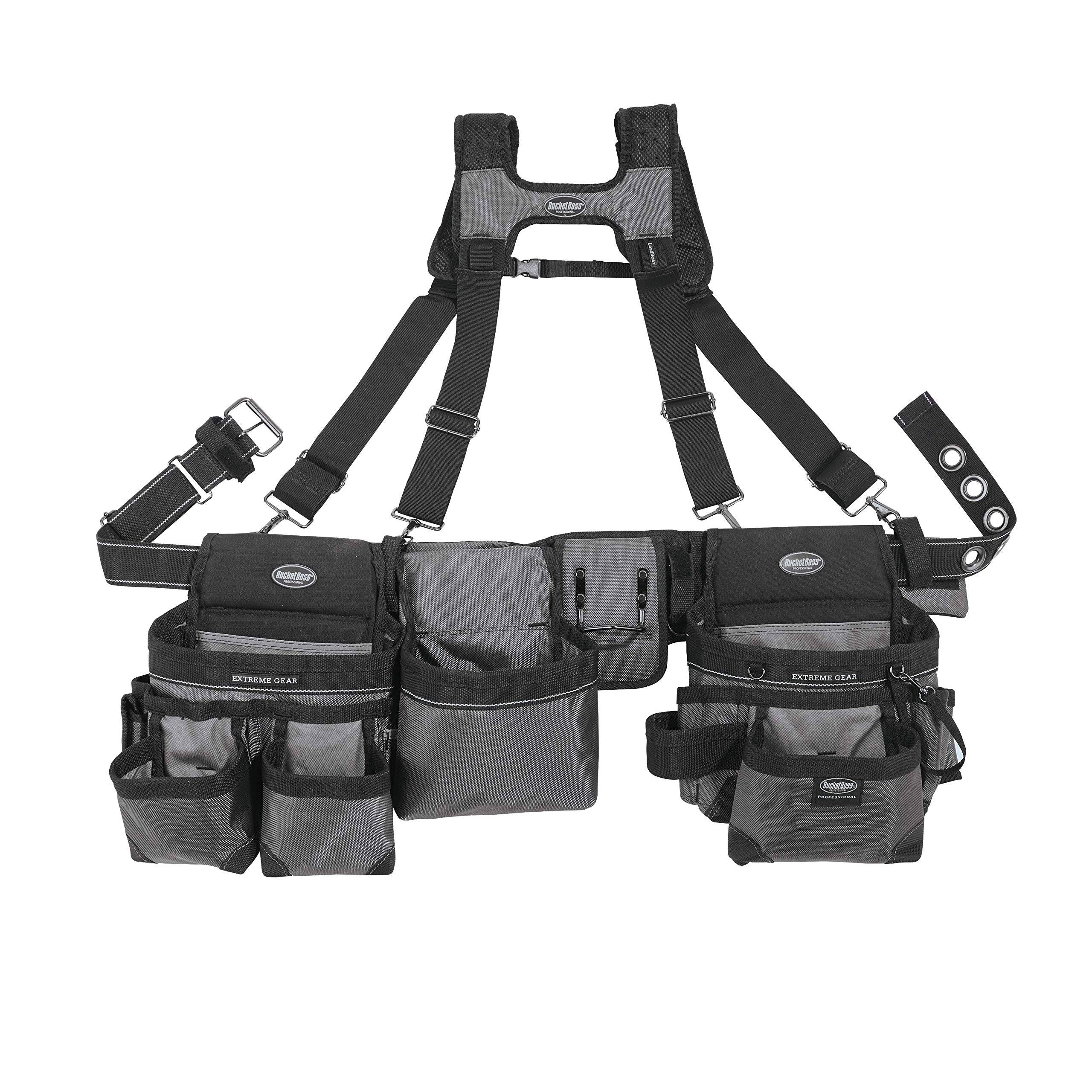 Bucket Boss Mullet Buster 3 Bag Tool Belt with Suspenders in Grey, 55135 by Bucket Boss