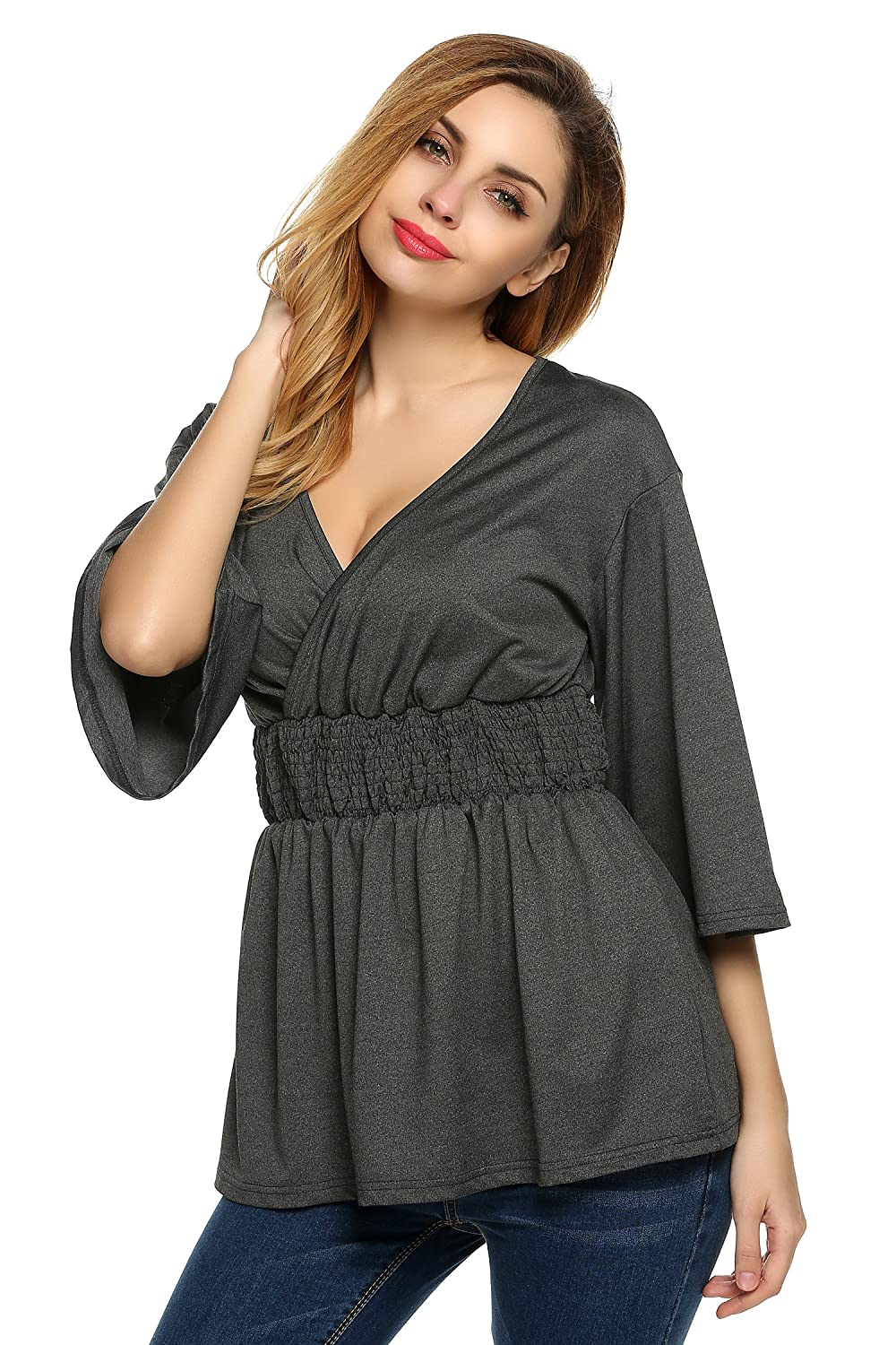 0c51ee024081d BURLADY Womens Casual Summer V Neck Babydoll Blouses T-Shirt Tunic Tops at  Amazon Women s Clothing store