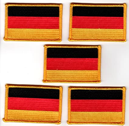 Amazon com: German Flag Embroidered Patch Gold Border - 5 Pack