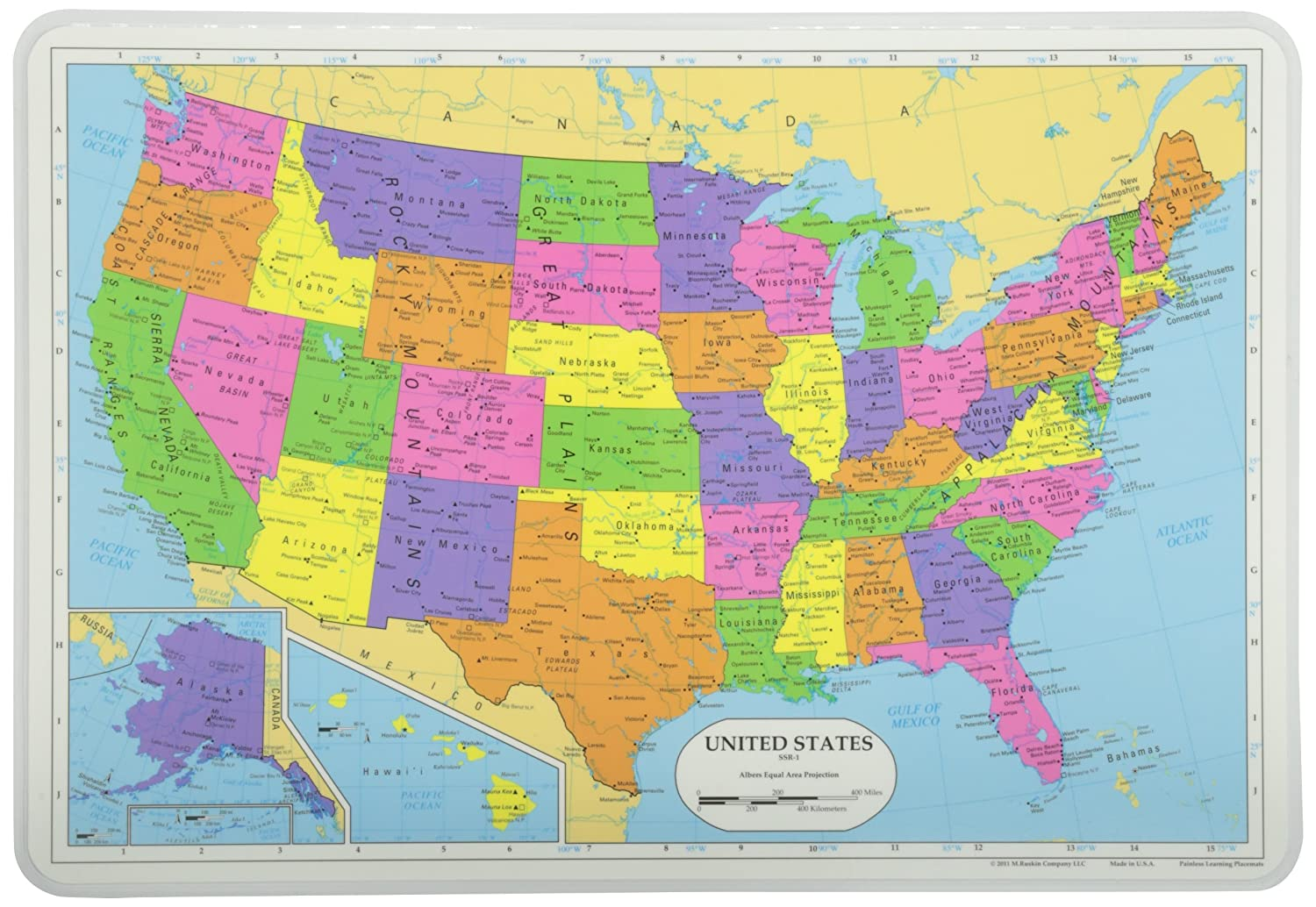Amazoncom Painless Learning Map of USA Placemat Home Kitchen