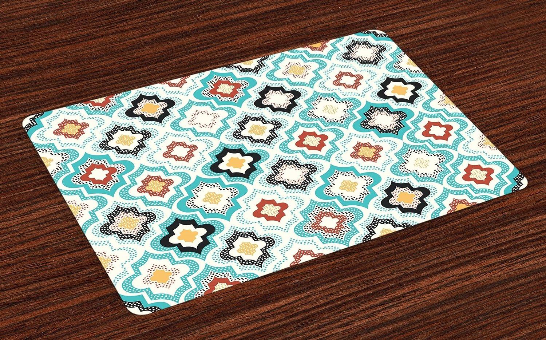 lunarableモロッコTrellis Placeマットのセット4、Ornate幾何学モチーフパターングランジ効果ボヘミアンアラビアデザイン、洗濯可能ファブリックプレースマットダイニングルームキッチンのテーブル装飾、マルチカラー   B07FKFNN4B