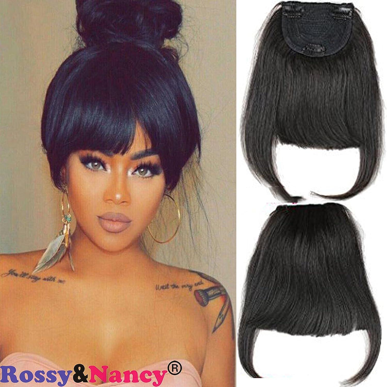 Rossy&Nancy 1b Brazilian Human Hair Clip-in Hair Bang Full Fringe Short Straight Hair Extension for women 6-8inch