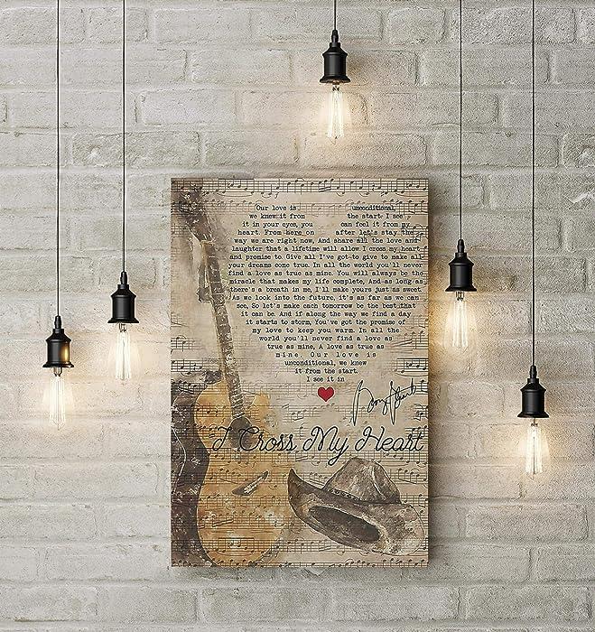 Gifts George Strait I Cross My Heart Lyrics 0.75 & 1.5 inch Framed Canvas - Home Living - Wall Decor, Canvas Wall Art Custom Size