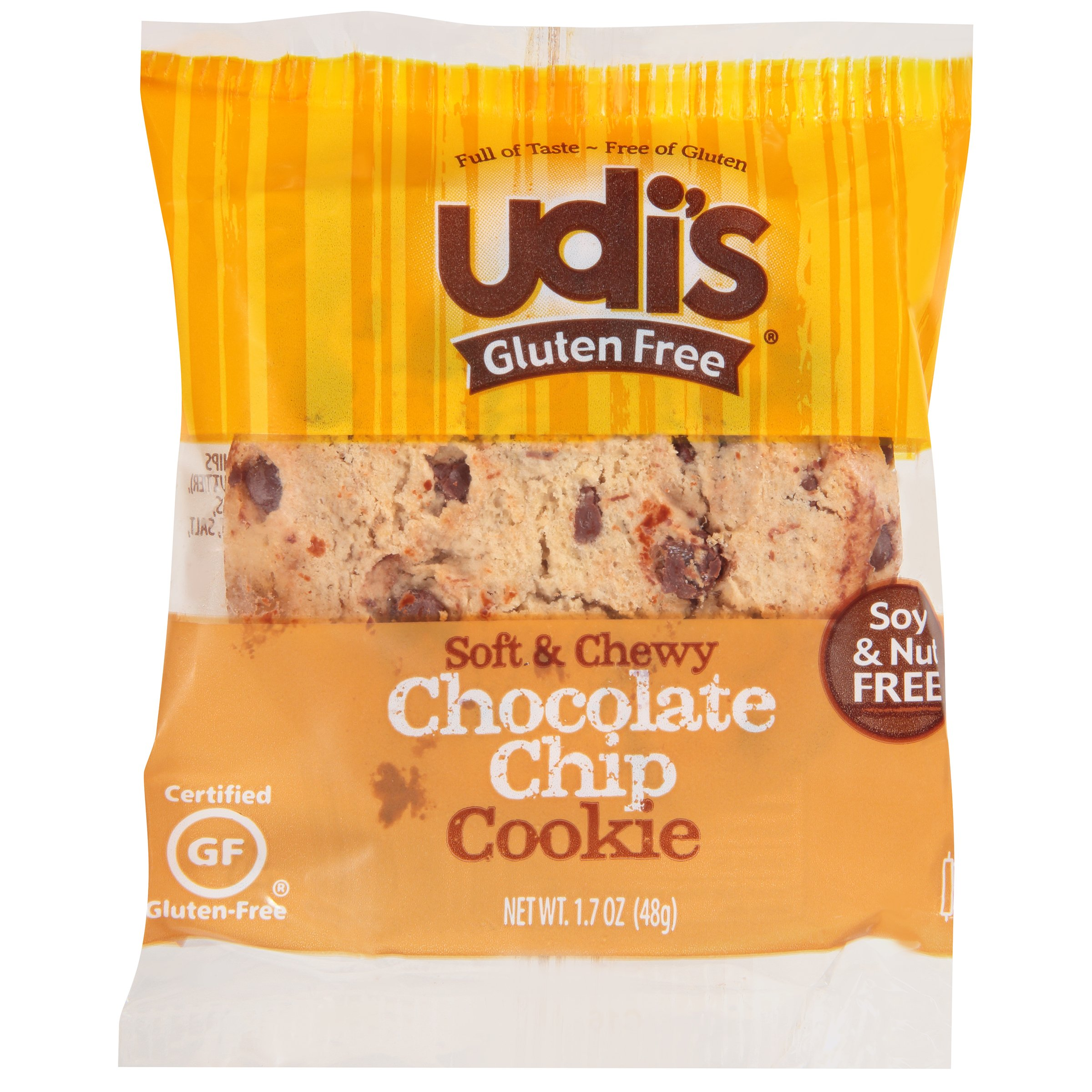 Udi's Gluten Free Individually Wrapped Chocolate Chip Cookie, 1.7 oz, Pack of 36