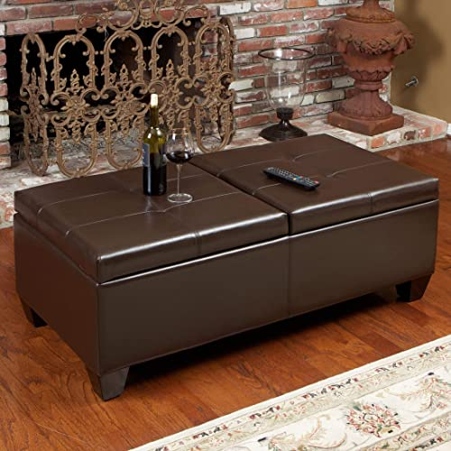 Brown Bonded Leather Storage Ottoman Modern Contemporary Solid Rectangle Upholstered Tufted