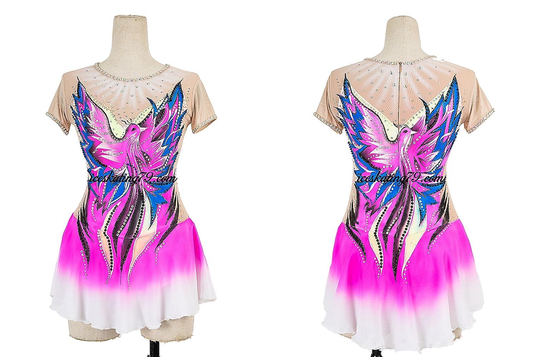 Ice Skating Dress/Girl Custom/Figure Skating Clothe/Twirling/ Leotard/Baton Custom/Women/ Competition/Neon Pink/Phoenix Design
