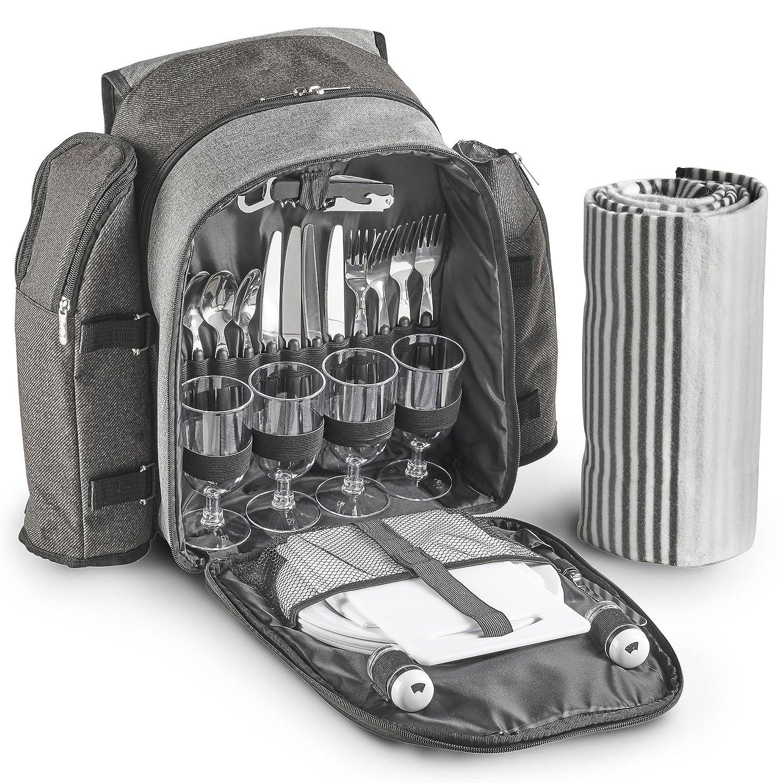 VonShef Picknick-Rucksack mit Decke für 4 Personen
