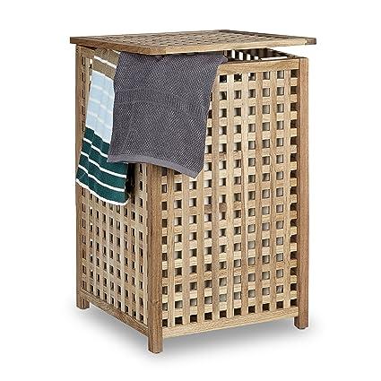 Cesto para ropa sucia Relaxdays de madera de nogal, canasta de almacenamiento con tapa, 67,5 x 45,7 x 45,7 cm, organizador de ropa sucia con bolsa de ...