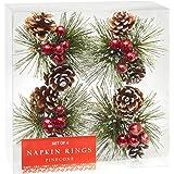 Nantucket Home Snowy Pinecone Napkin Rings, Set of 4