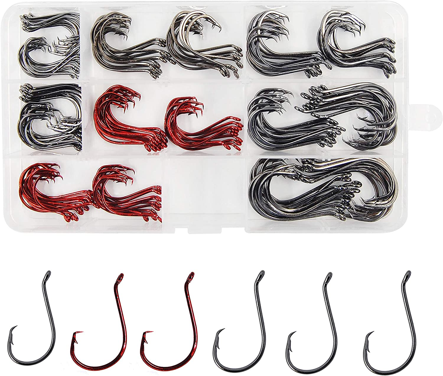 Shaddock Fishing 160pcs/box 7384 2X Strong Offset Sport Circle Hooks Black High Carbon Steel Fishing Hooks Sharp Octopus Fishing Hooks-Size:#1-5/0