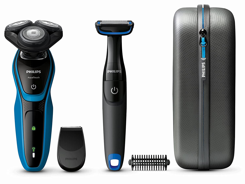 Philips AquaTouch –  Rasoir (Rasoir rotatif, Noir, Bleu, LED, batterie, nickel-mé tal d'hydrure (NiMH), inté gré ) nickel-métal d' hydrure (NiMH) intégré) S5050/64